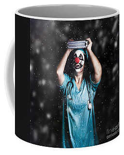 Crazy Doctor Clown Laughing In Rain Coffee Mug