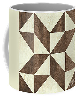 Coffee Mug featuring the painting Cream And Brown Quilt by Debbie DeWitt