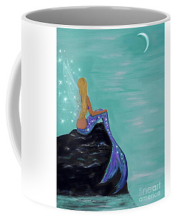 Coffee Mug featuring the painting Crescent Mermaid Moon Fairy by Leslie Allen