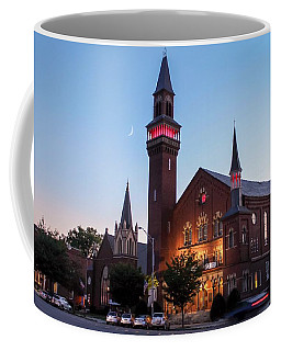 Crescent Moon Over Old Town Hall Coffee Mug