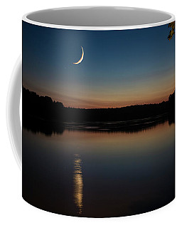Coffee Mug featuring the photograph Crescent Moon Set At Lake Chesdin by Jemmy Archer