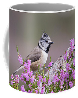 Crested Tit In Heather Coffee Mug