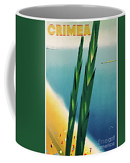 Coffee Mug featuring the mixed media Crimea Vintage Travel Poster Restored by Carsten Reisinger