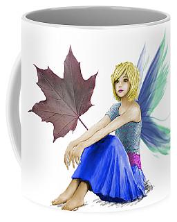 Crimson King Maple Tree Fairy With A Leaf Coffee Mug