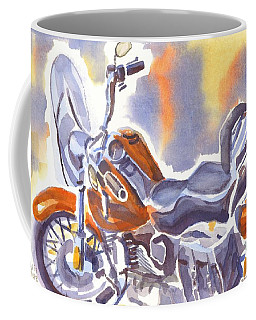 Coffee Mug featuring the painting Crimson Motorcycle In Watercolor by Kip DeVore
