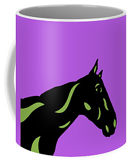Crimson - Pop Art Horse - Black, Greenery, Purple Coffee Mug