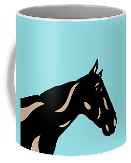 Crimson - Pop Art Horse - Black, Hazelnut, Island Paradise Blue Coffee Mug