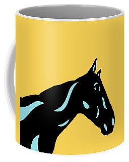 Crimson - Pop Art Horse - Black, Island Paradise Blue, Primrose Yellow Coffee Mug