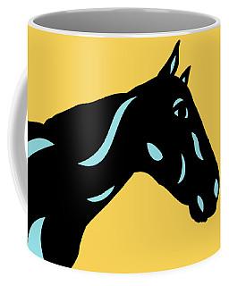 Crimson - Pop Art Horse - Black, Island Paradise Blue, Primrose Yellow Coffee Mug