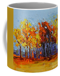 Coffee Mug featuring the painting Crispy Autumn Day Landscape Forest Trees - Modern Impressionist Knife Palette Oil Painting by Patricia Awapara