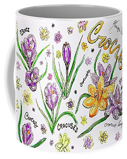 Coffee Mug featuring the painting Crocuses by Monique Faella