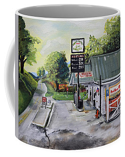 Coffee Mug featuring the painting Crossroads Grocery - Elijay, Ga - Old Gas And Grocery Store by Jan Dappen