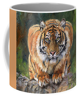 Coffee Mug featuring the painting Crouching Tiger by David Stribbling