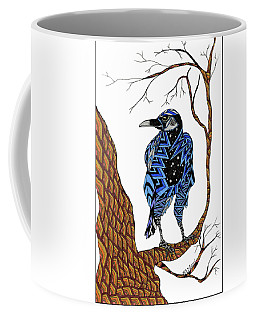 Coffee Mug featuring the drawing Crow by Barbara McConoughey