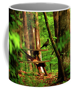 Coffee Mug featuring the photograph Crow On A Table by Andy Lawless