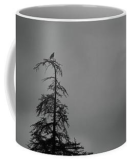 Crow Perched On Tree Top - Black And White Coffee Mug