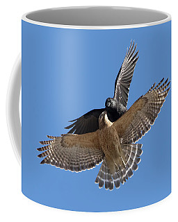 Coffee Mug featuring the photograph Crow Vs Hawk by Mircea Costina Photography