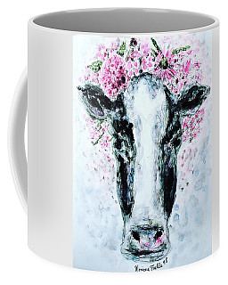 Crown Of Flowers Cow Coffee Mug