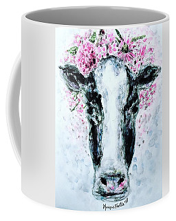 Coffee Mug featuring the painting Crown Of Flowers Cow by Monique Faella
