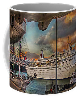 Coffee Mug featuring the photograph Cruise Port by Hanny Heim