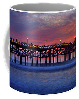 Crystal Pier In Pacific Beach Decorated With Christmas Lights Coffee Mug