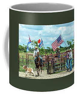 Coffee Mug featuring the photograph Cuban Cowboys by Lou Novick