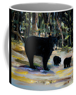Cubs With Momma Bear - Dreamy Version - Black Bears Coffee Mug