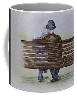 Coffee Mug featuring the painting Cuddling Is Ageless by Kelly Mills