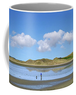 Culleenamore, Strandhill, Sligo - A Man And A Dog Cycle Over The Water To The Dunes On A Sunny Day Coffee Mug