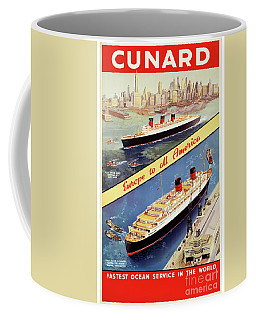 Coffee Mug featuring the mixed media Cunard Vintage Travel Poster Restored by Carsten Reisinger