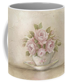 Coffee Mug featuring the painting Cup And Saucer  Pink Roses by Chris Hobel