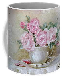 Coffee Mug featuring the painting Cup And Saucer Roses by Chris Hobel