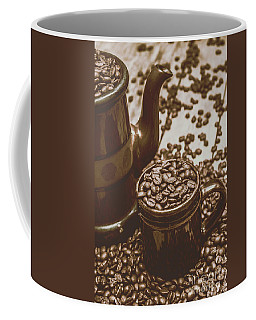 Cup And Teapot Filled With Roasted Coffee Beans Coffee Mug