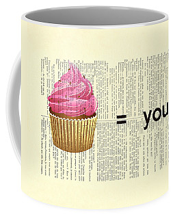 Pink Cupcake Equals You Print On Dictionary Paper Coffee Mug