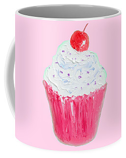 Cupcake Painting On Pink Background Coffee Mug by Jan Matson