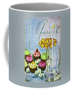 Cupcakes And Gaufrettes Beside A Candle Coffee Mug