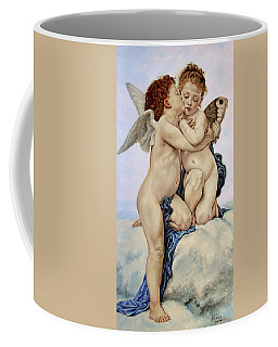 Coffee Mug featuring the painting Cupid And Psyche Reproduction William Adolphe Bouguereau  by Heidi Kriel