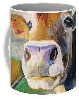 Coffee Mug featuring the painting Curious Cow by Donna Tuten