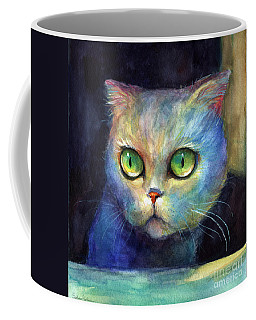 Curious Kitten Watercolor Painting  Coffee Mug by Svetlana Novikova
