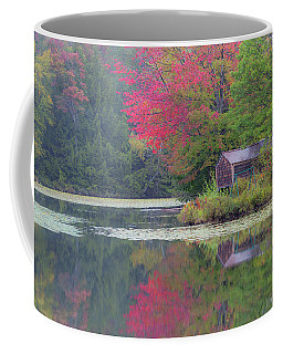 Coffee Mug featuring the photograph Curtis Pond Misty Autumn by Alan L Graham