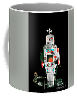 Cute 1970s Robot On Black Background Coffee Mug