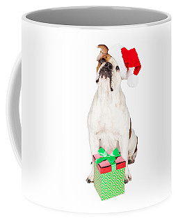 Cute Bulldog With Christmas Present Coffee Mug