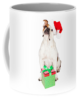 Cute Bulldog With Christmas Present Coffee Mug
