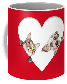 Cute Cat And Dog Peeking Out Of Cutout Heart Coffee Mug