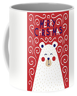 Coffee Mug featuring the digital art Cute Christmas Card With A Picture Of A Bear In A Scandinavian S by Christopher Meade