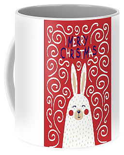 Coffee Mug featuring the digital art Cute Christmas Card With A Rabbit In A Scandinavian Style by Christopher Meade