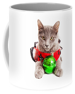 Cute Christmas Kitten Looking Into Camera Coffee Mug