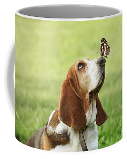 Cute Dog With Butterfly On His Nose Coffee Mug