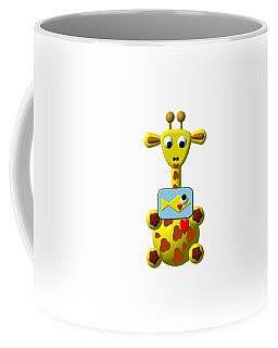 Coffee Mug featuring the digital art Cute Giraffe With Goldfish by Rose Santuci-Sofranko