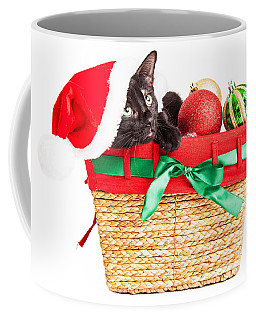 Cute Kitten In Christmas Basket Coffee Mug